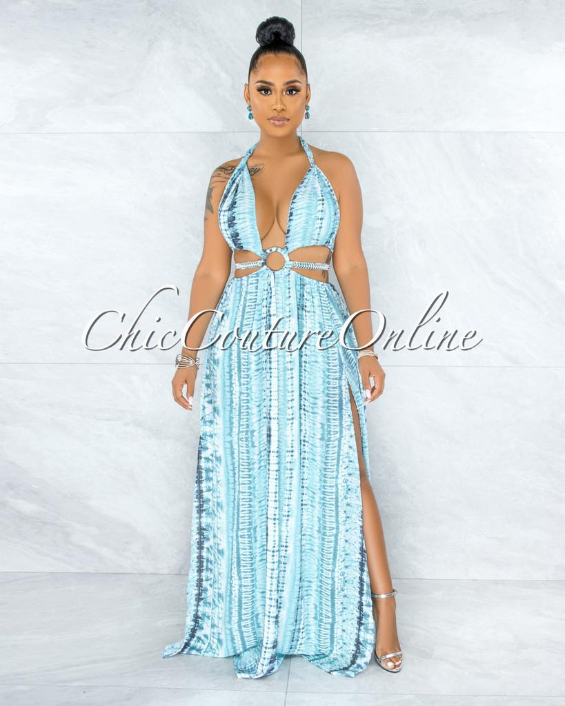 Cabello White Blue Print Cut-Out Sides Silver Link Dress