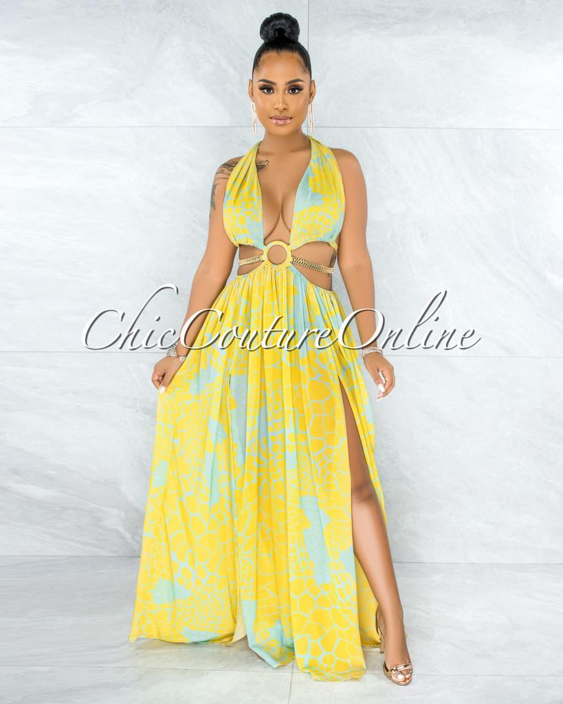 Odahna Lemon Mint Print Cut-Out Sides Gold Link Dress