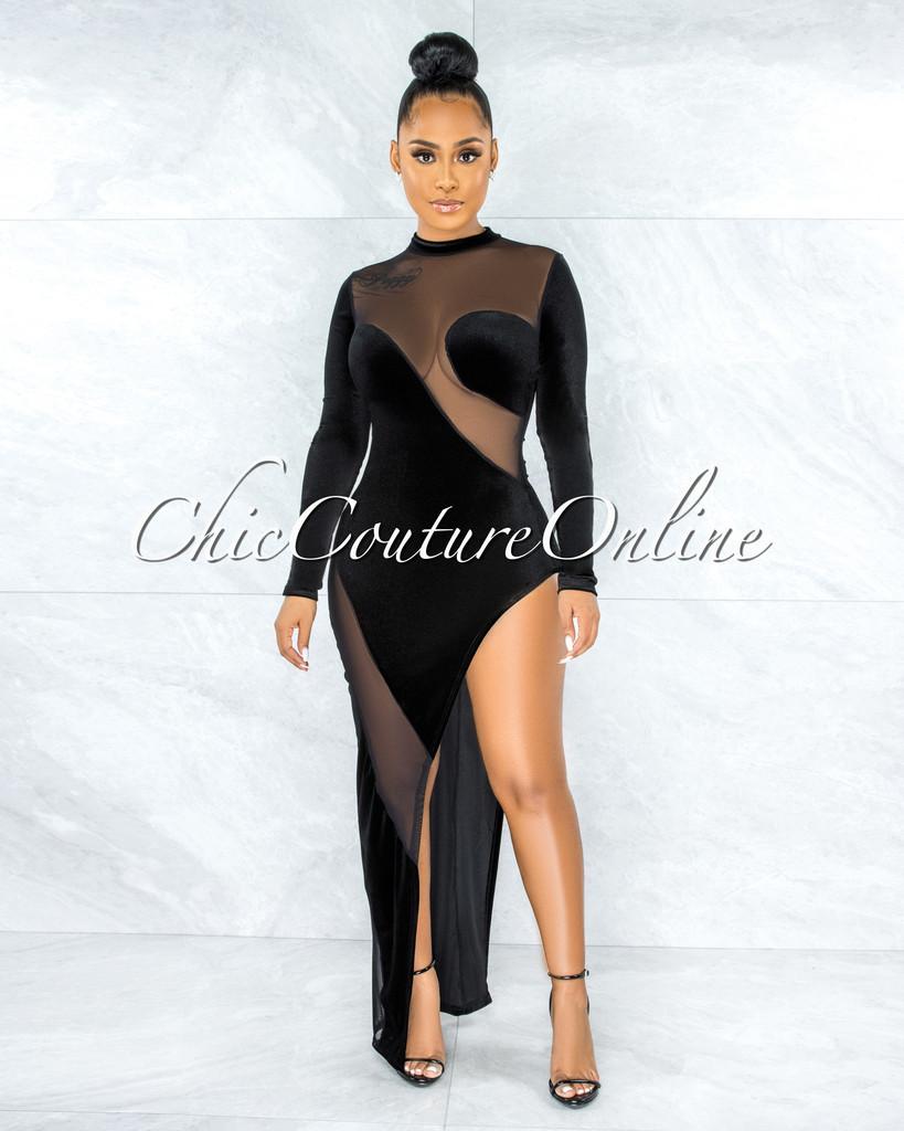 Serafina Black Velvet Sheer Mesh Side Slit Dress