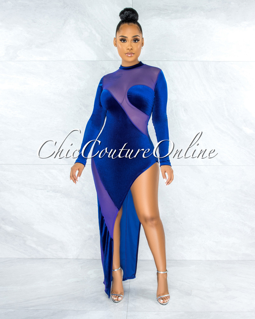 Serafina Royal Blue Velvet Sheer Mesh Side Slit Dress