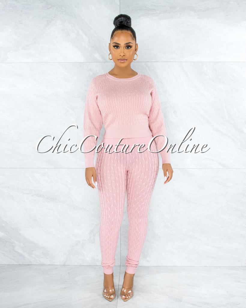 Assana Mauve Cable Knit Sweater Leggings Set