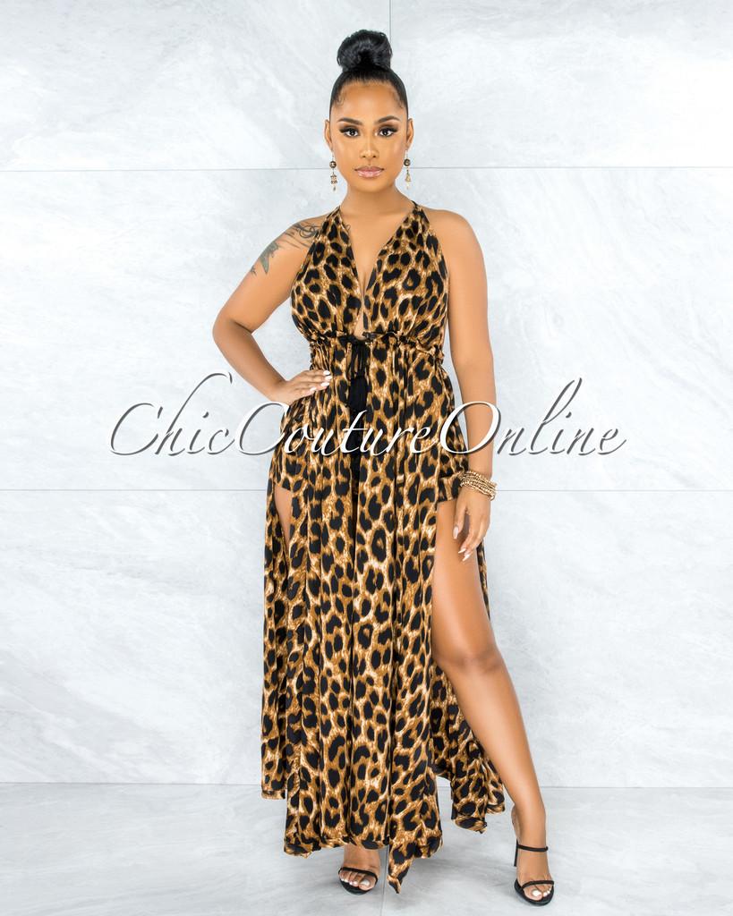Adelphie Leopard Print Long Halter Two Piece Set