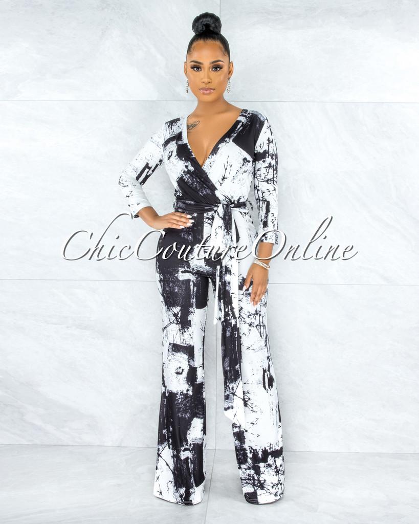 Euvenia Black White Print Self-Tie Belt Jumpsuit