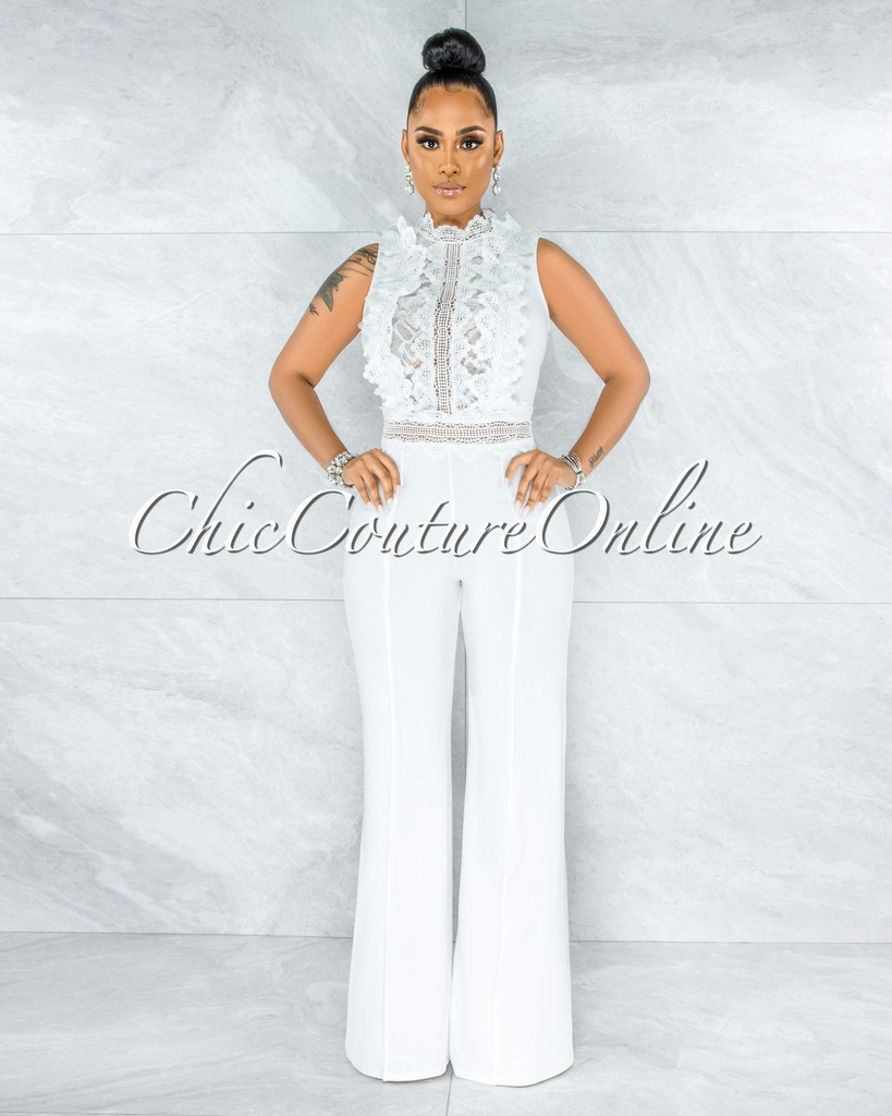 Firth Off-White Crochet See-Through Top Jumpsuit