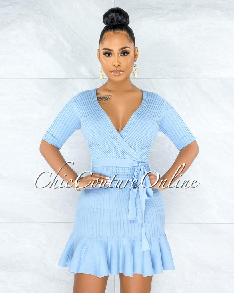 Javaris Periwinkle Blue Wrap Top Knit Flare Bottom Dress