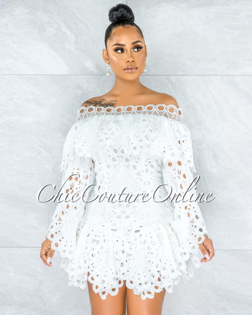 Kalida Off-White Crochet Embroidery Ruffle Skater Dress