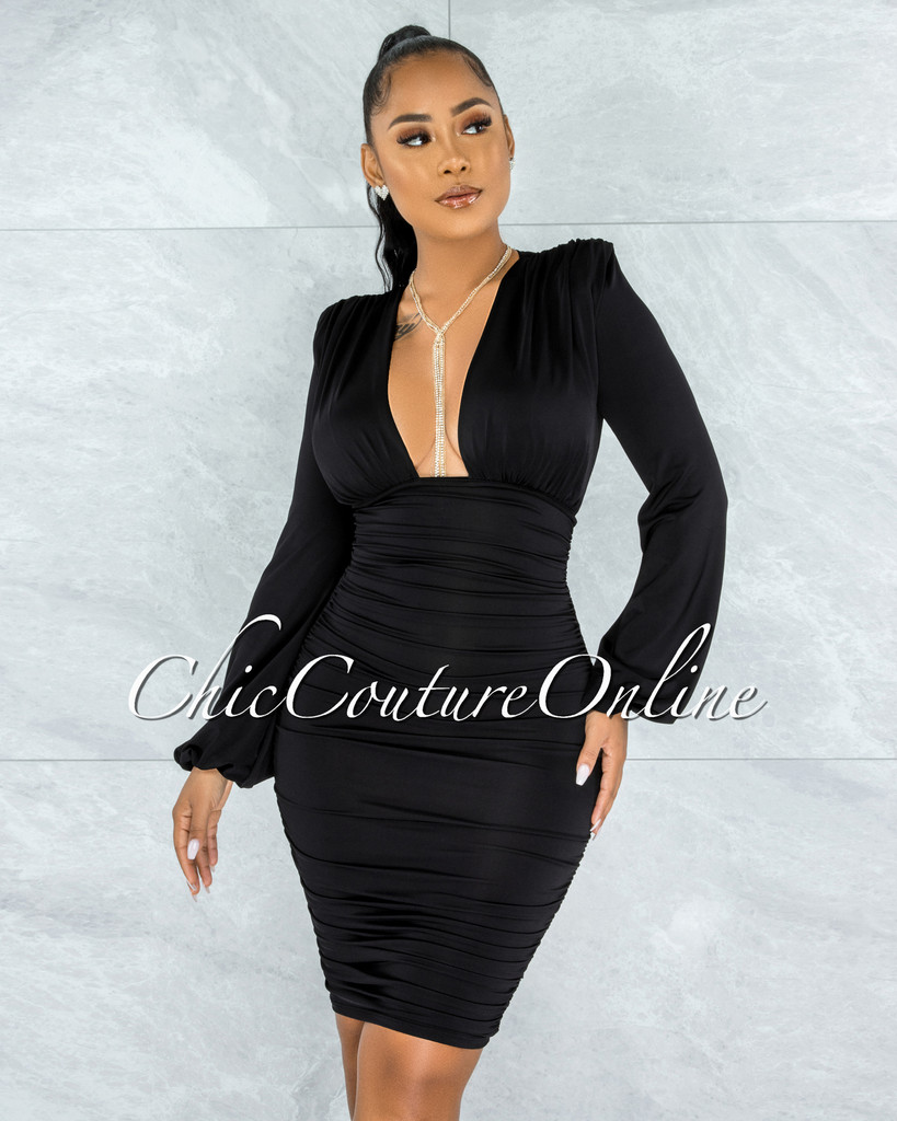 Veata Black Ruched Sides Deep-V Neckline Midi Dress