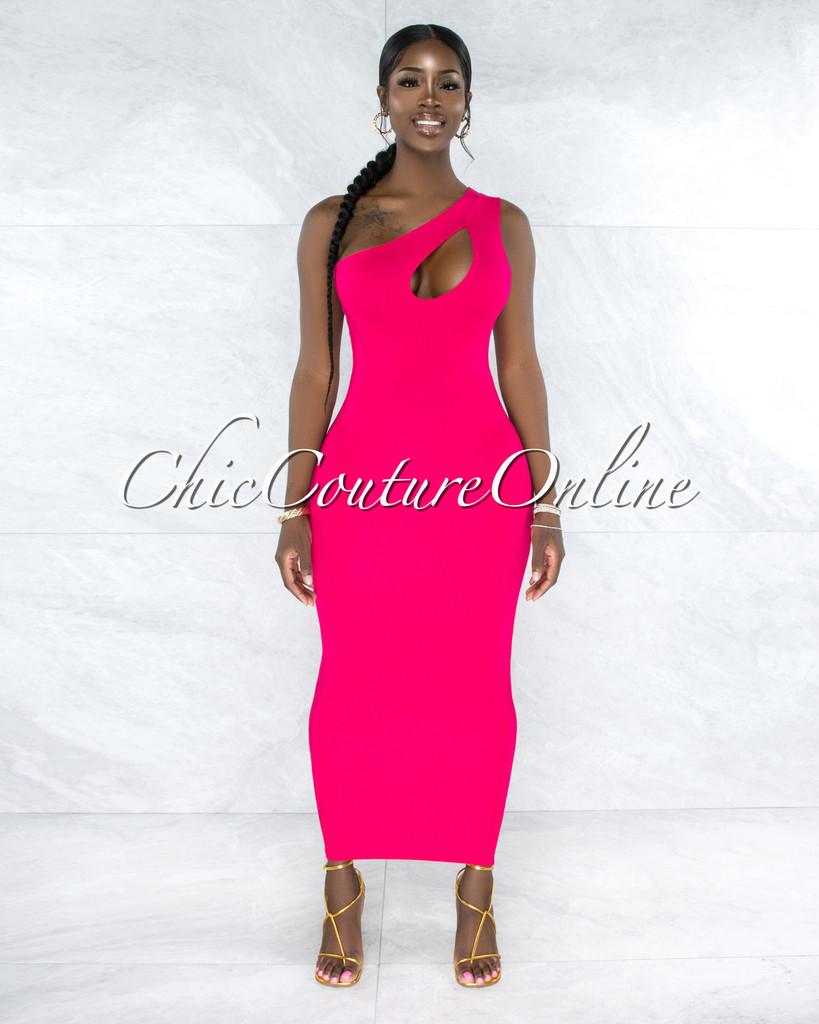Barker Hot Pink Key-Hole Maxi Dress