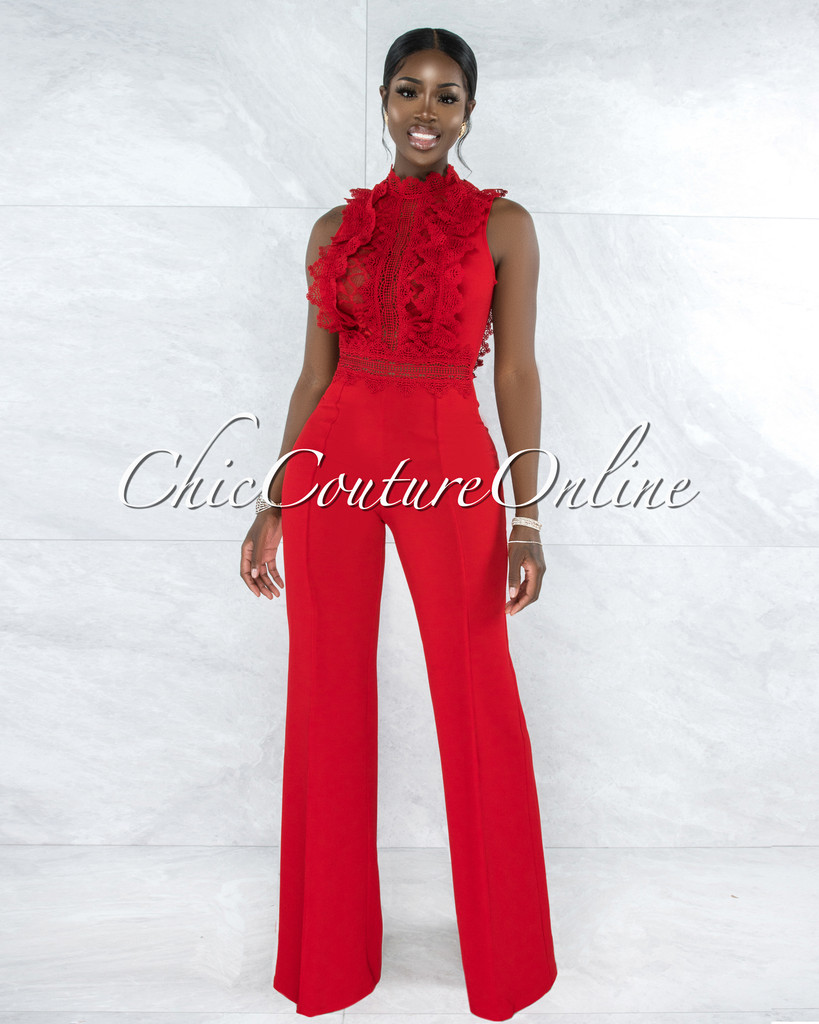 Firth Red Crochet See-Through Top Jumpsuit