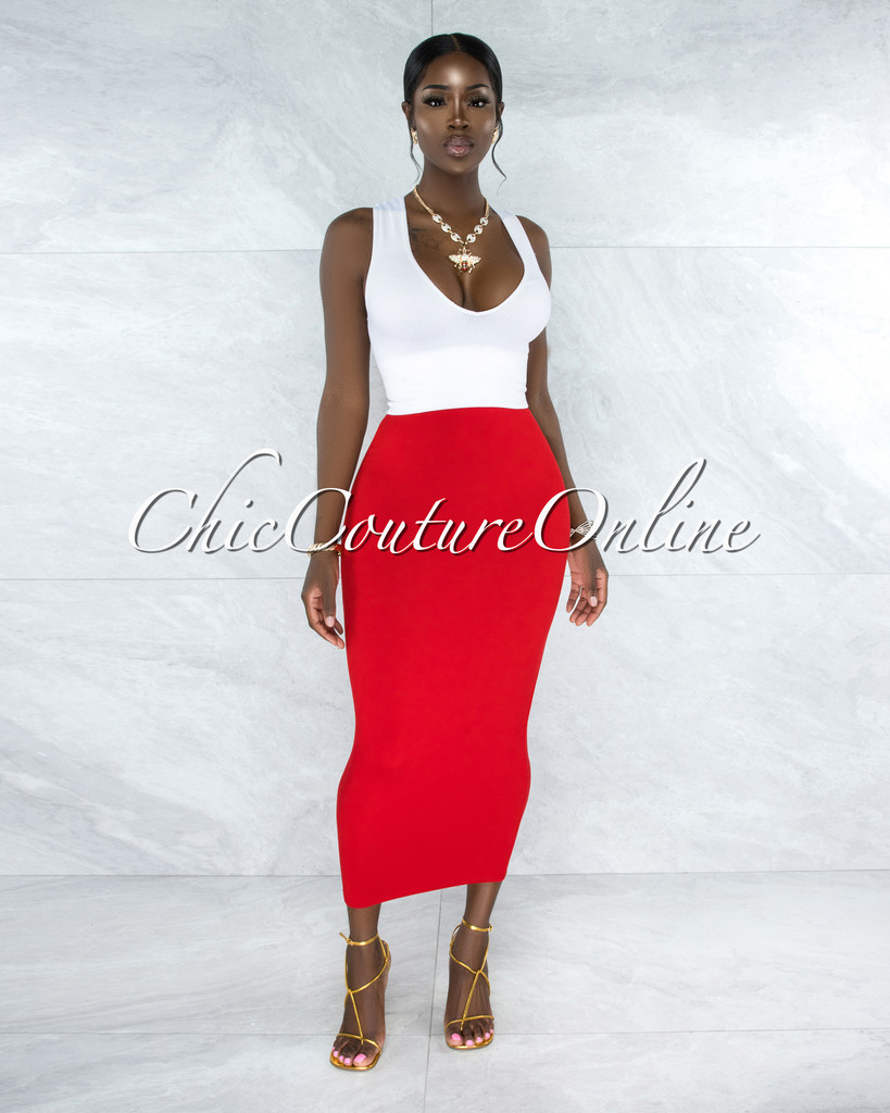 Doneva Red Double Lined Pencil Maxi Skirt