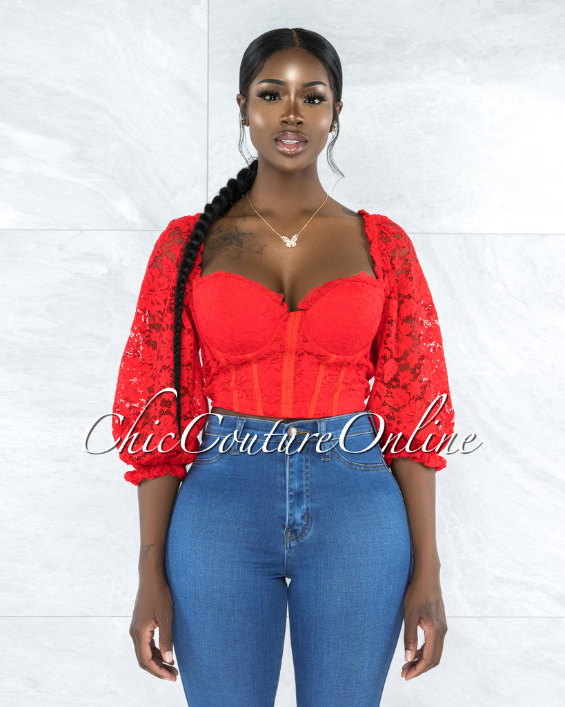 Noemie Red Lace Padded Cups Crop Top