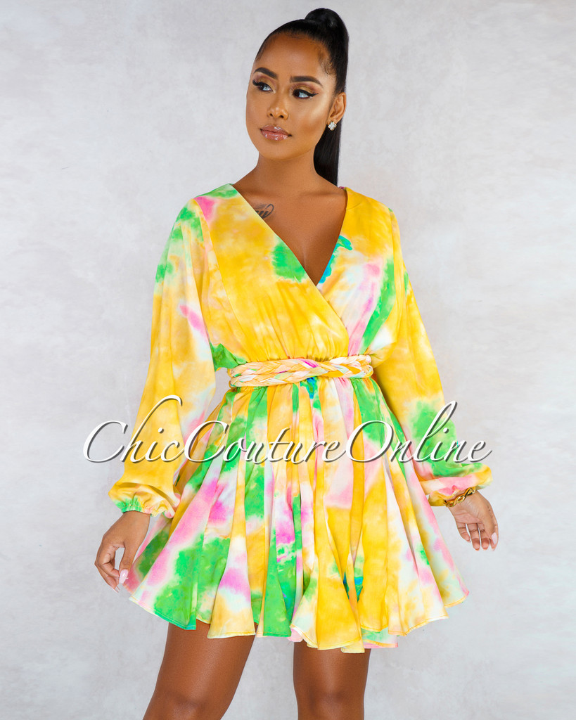 Zurie Yellow Multi-Color Pleated Skirt Skater Dress