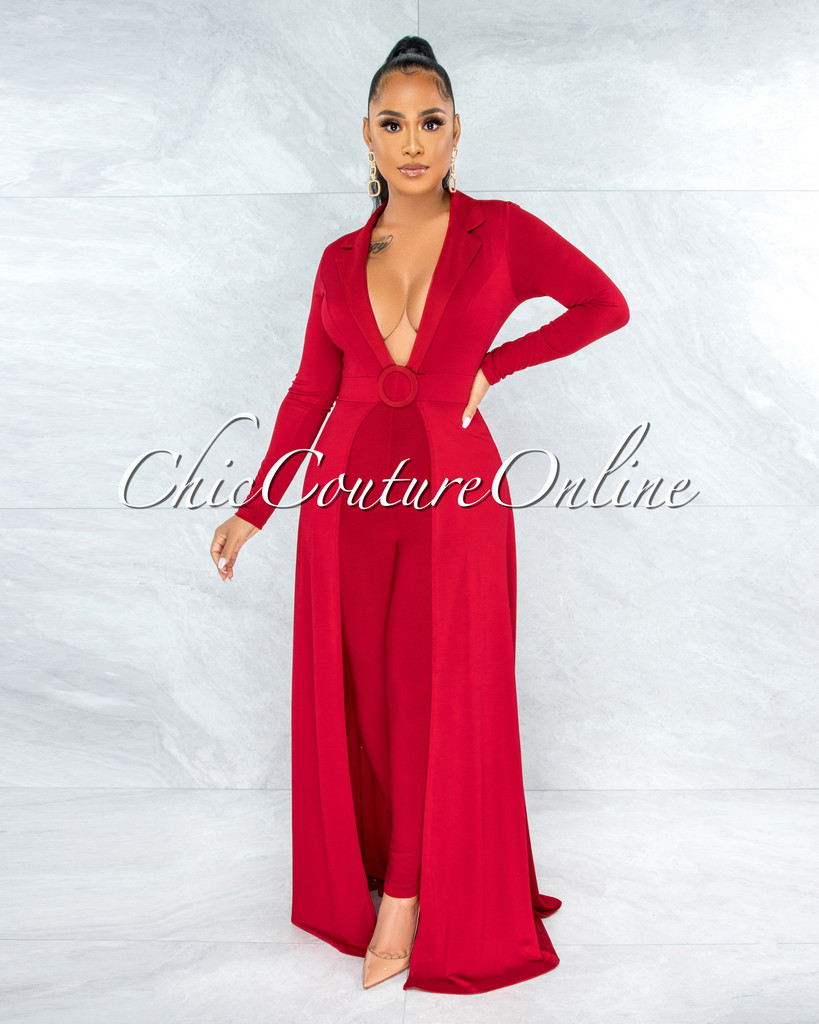 Ettore Red Double Breast O-Ring Overlay Jumpsuit