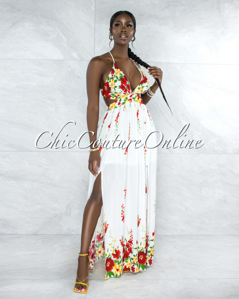 Annely Ivory Red Floral Print Halter Maxi Dress