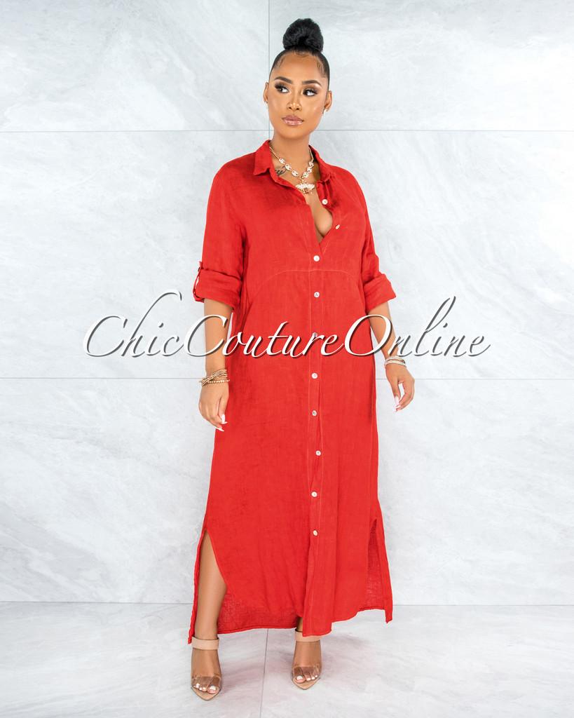 Bruna Red Front Buttons Shirt Linen Maxi Dress