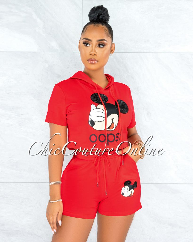 Integra Red Mickey Hoodie Top & Shorts Set