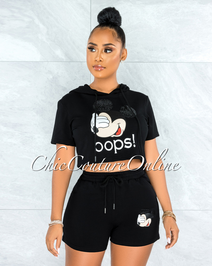 Integra Black Mickey Hoodie Top & Shorts Set