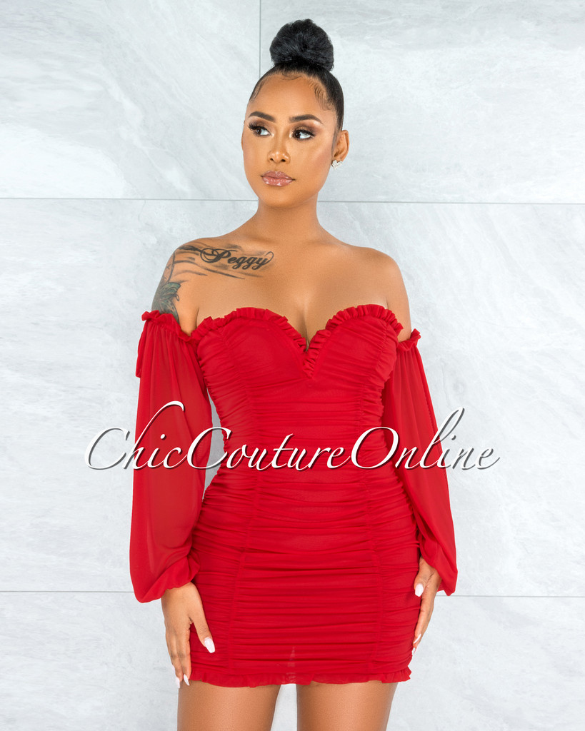 Gayler Red Mesh Ruched  Mini Dress