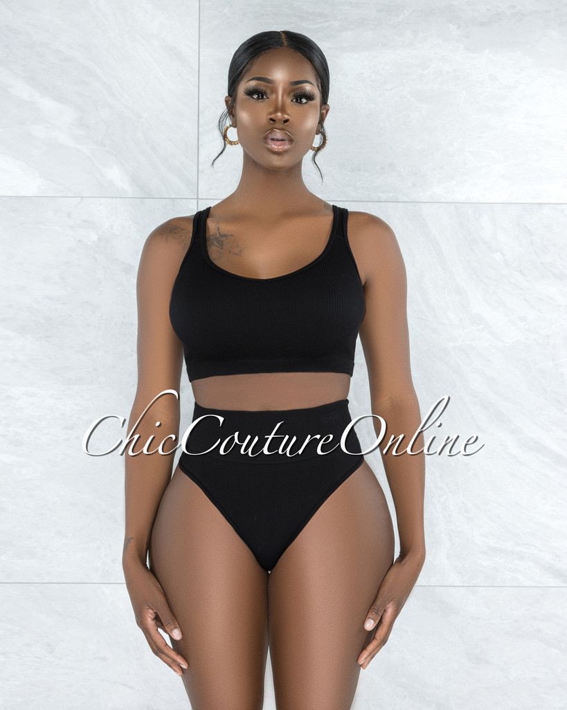 Beatha Black Ribbed Undergarment Two-Piece Set