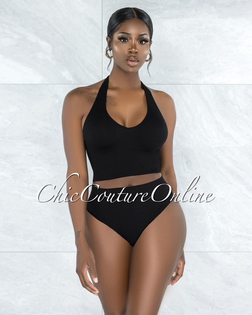 Dahy Black Ribbed Undergarment Two-Piece Set