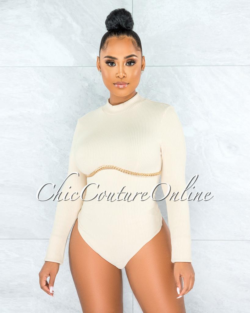 Allegra Nude Ribbed Gold Link Detail Bodysuit