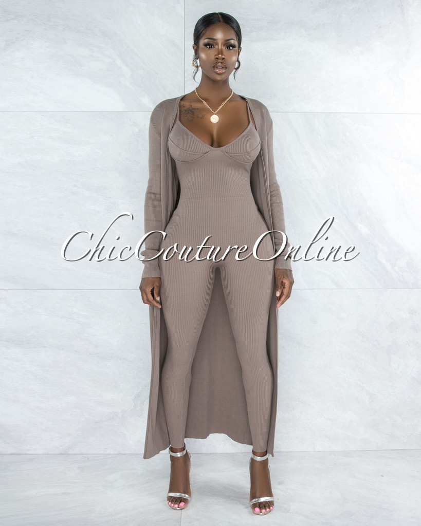 Chasia Taupe Ribbed Jumpsuit & Duster Set