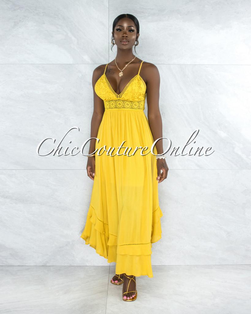 Wanetta Yellow Crochet See-Through Waist Maxi Dress