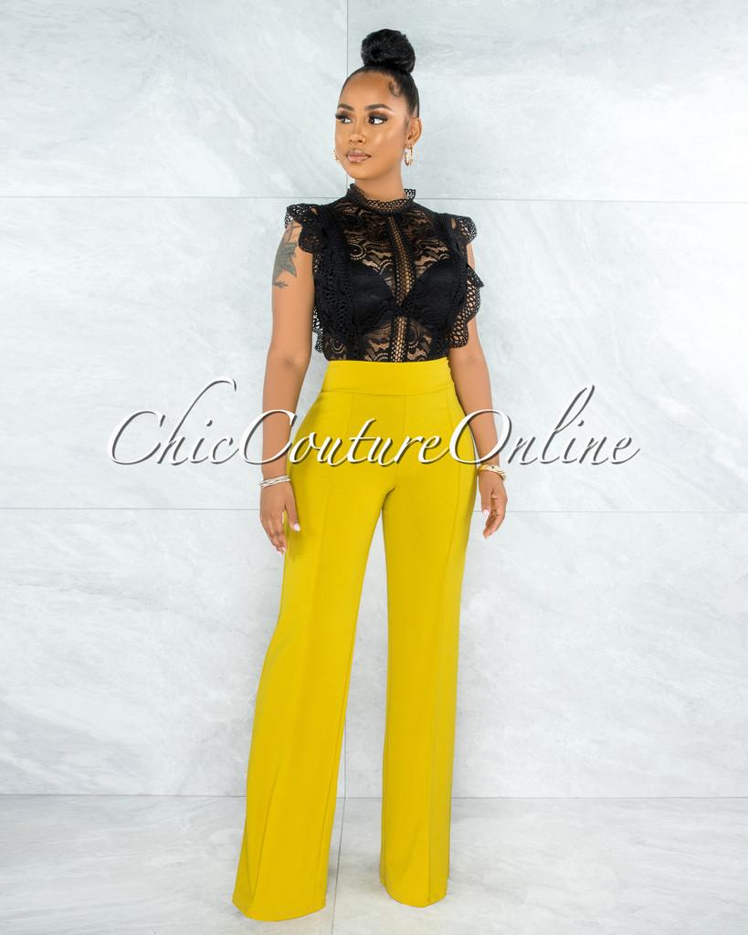 Marcie Lime Yellow High Waist Palazzo Pants