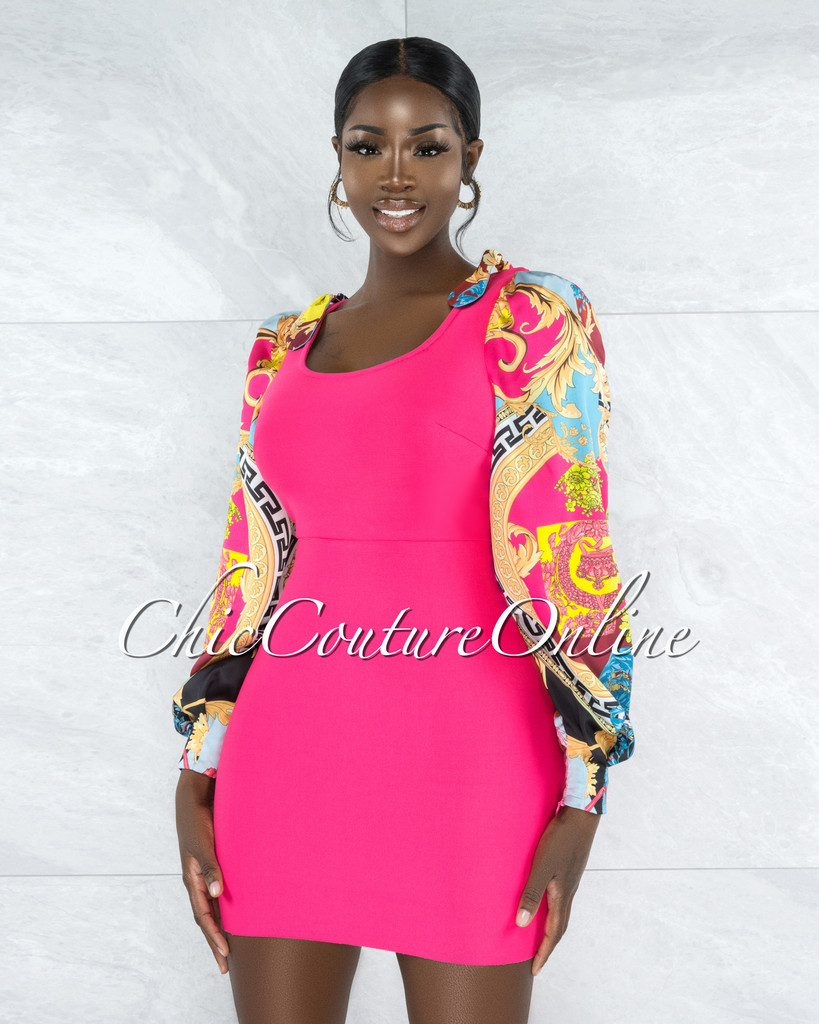 Poetry Hot Pink Multi-Color Print Sleeves Bandage Dress