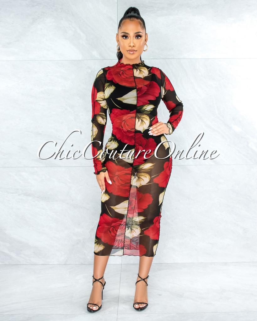 Eloyda Black Red Roses Print Sheer Mesh Dress