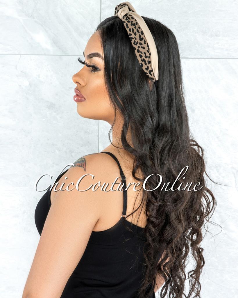 Leesa Beige Leopard Print Knot Headband