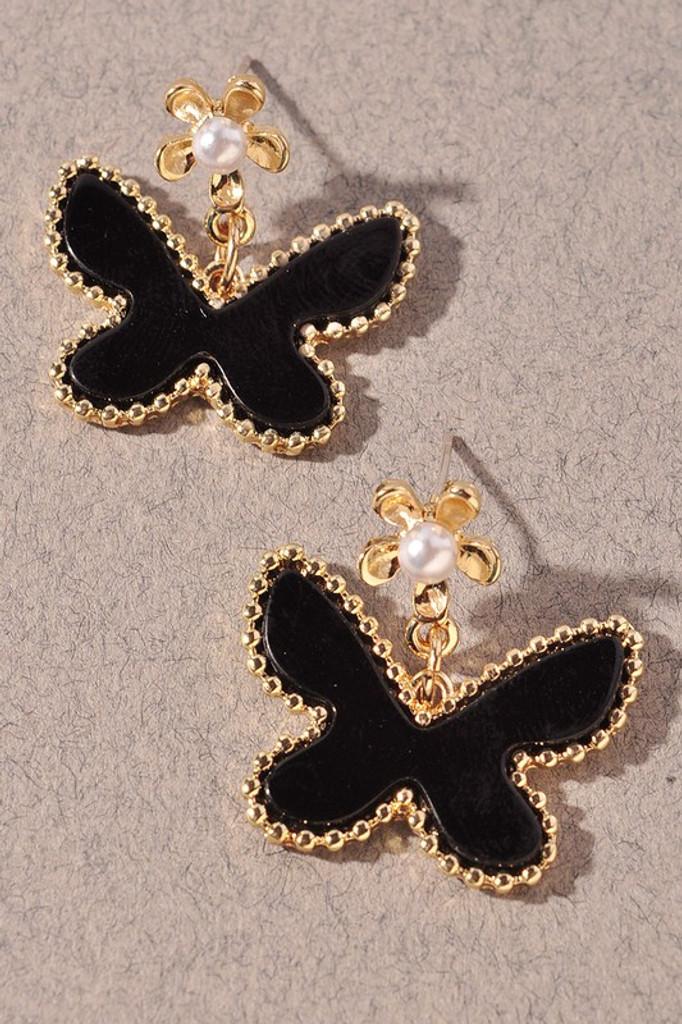 Maryam Black Butterfly Dangle Earrings