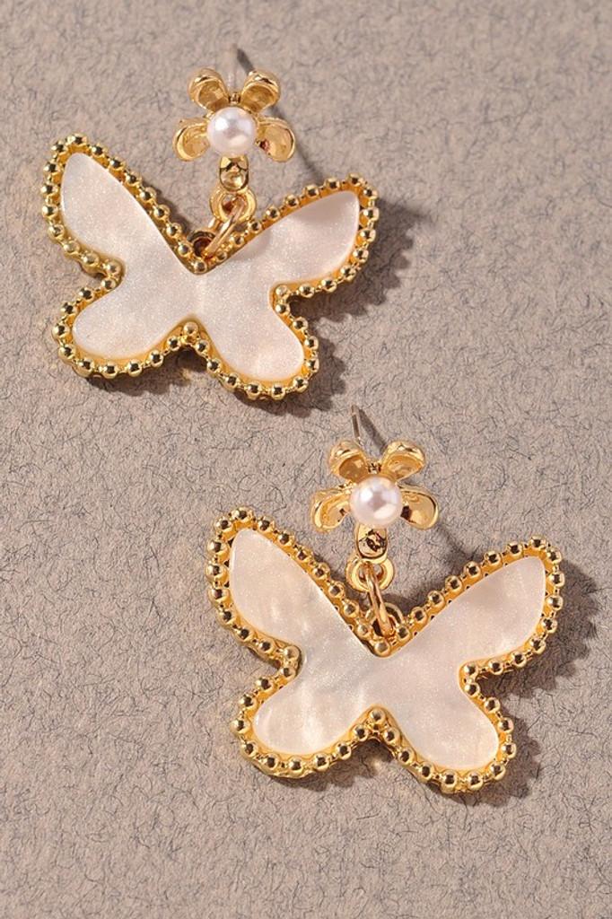 Maryam White Butterfly Dangle Earrings