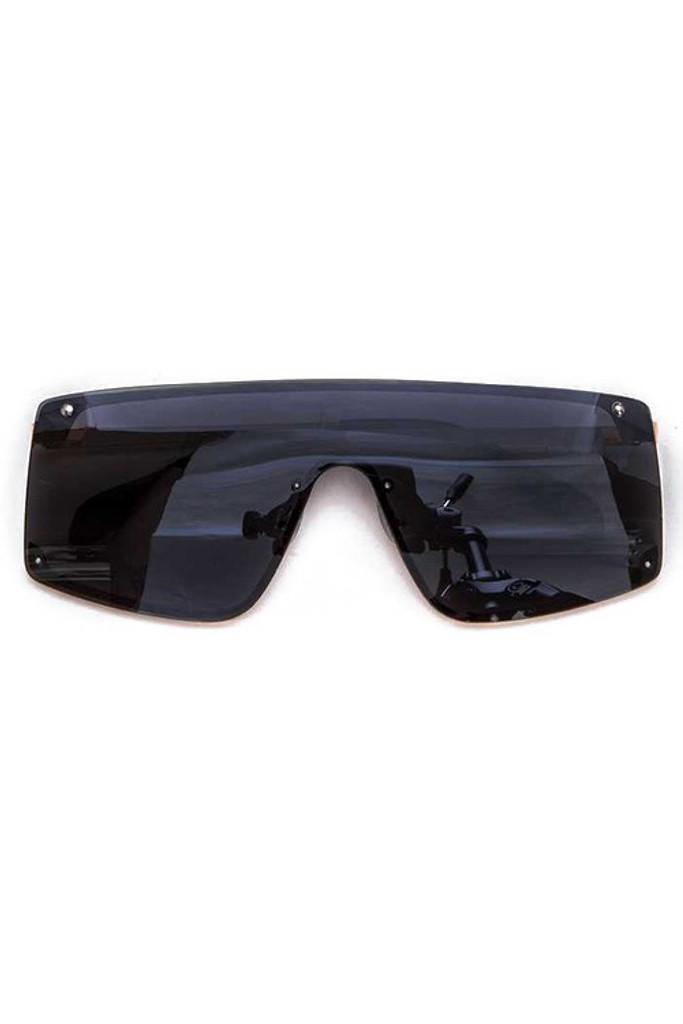Cynthia Black Rectangular Sunglasses