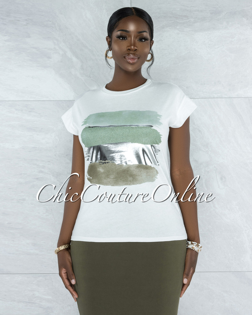 Bian White Olive Green Silver Graphic T-Shirt