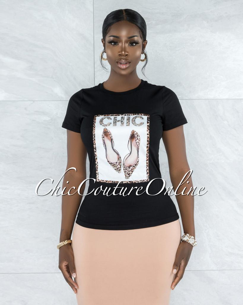 Estella Black Leopard Silver Pearl Graphic T-Shirt
