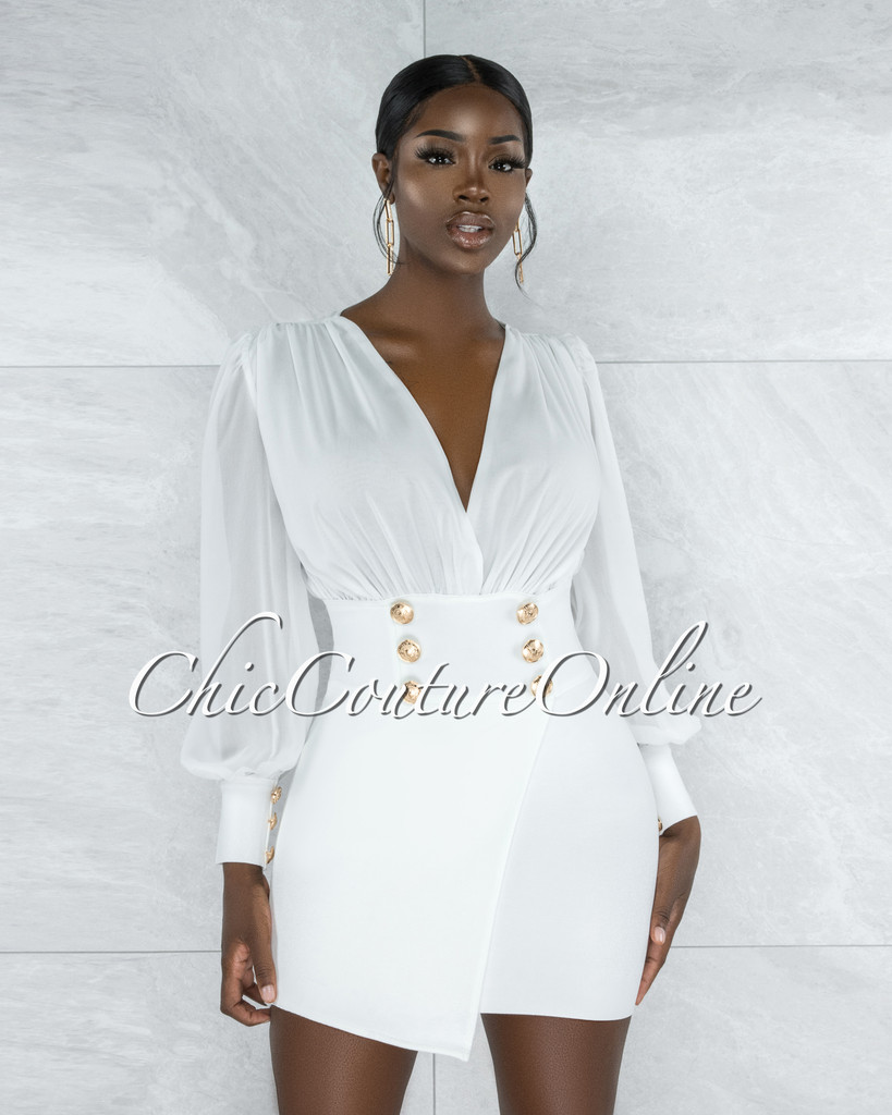 Boaz White Semi-Sheer Top Gold Buttons Bandage Dress