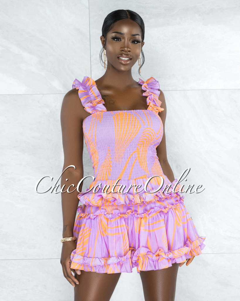 Ryba Lilac Orange Print Smocked Ruffle Mini Dress