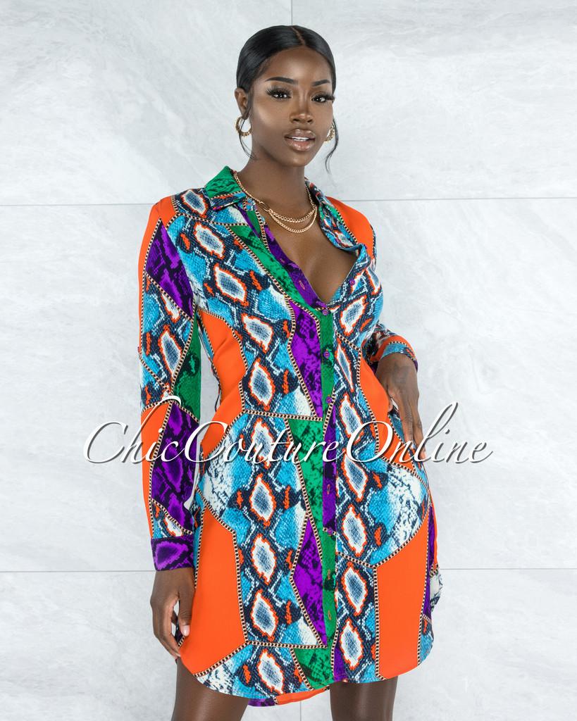 Lantana Purple Orange Print Buttons Shirt Dress