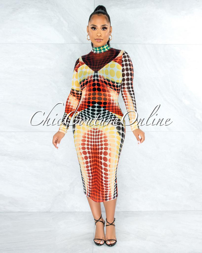 Adrina Yellow Black Dots Print Sheer Mesh Dress