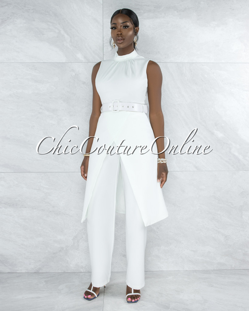 Treva Off-White Belted Long Top & Pants Set