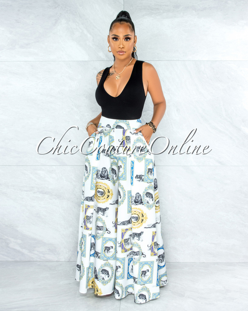 Vermont Off-White Black Leopard Print Pleated Wide Pants