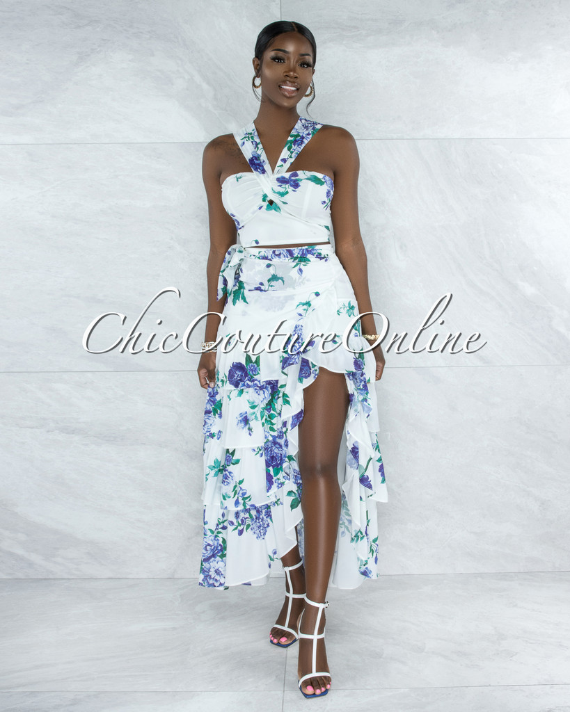 Casera White Blue Floral Print Top & Maxi Skirt Set