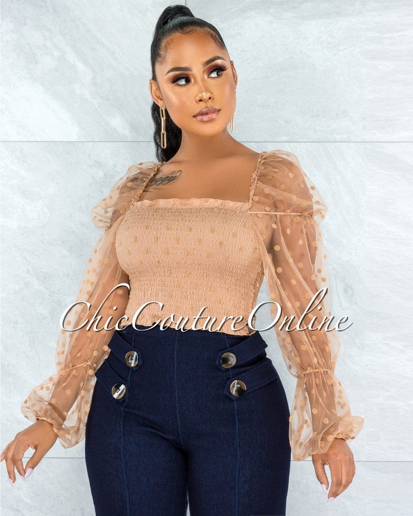 Engracia Taupe Tulle Polka Dots Sleeves Ruched Top