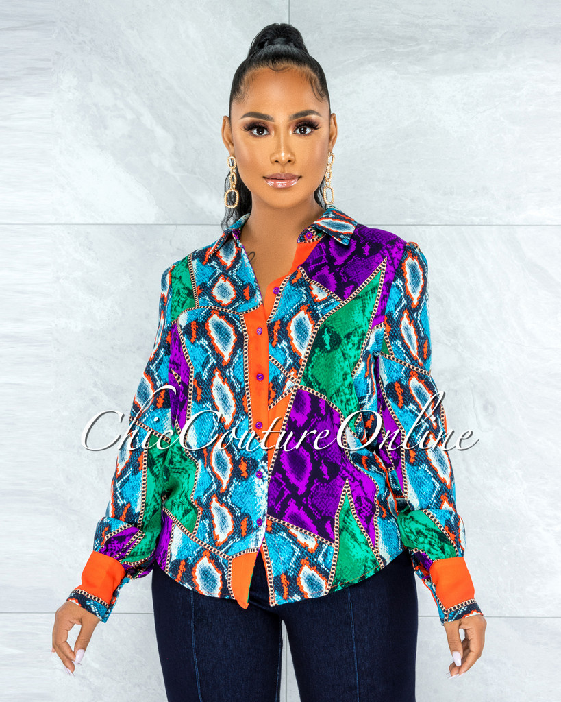 Nailah Purple Orange Multi-Color Print Buttons Shirt