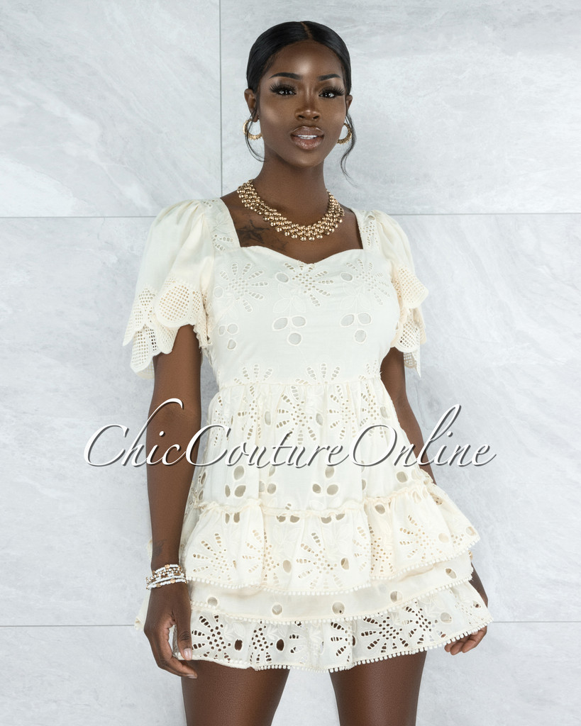 Zamara Ivory Eyelet Ruffle Skater Dress