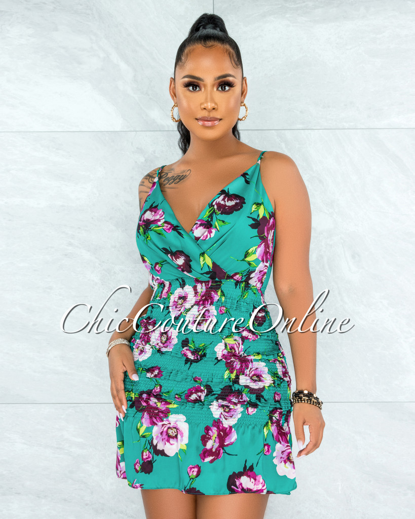 Aimery Emerald Green Floral Print Ruched Dress