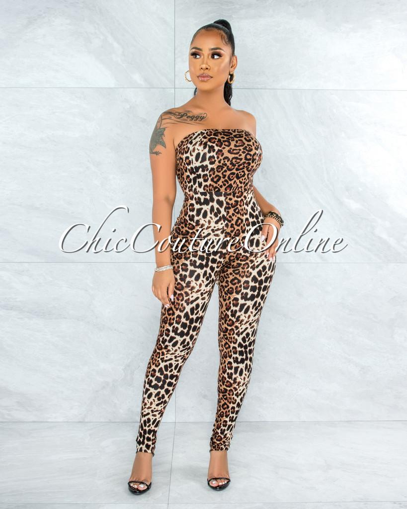 Gamal Leopard Print Back Lace-Up Jumpsuit