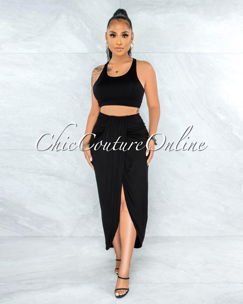 Klein Black Crop Top Draped Skirt Two Piece Set