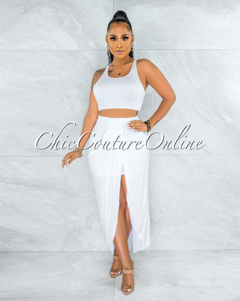 Klein White Crop Top Draped Skirt Two Piece Set